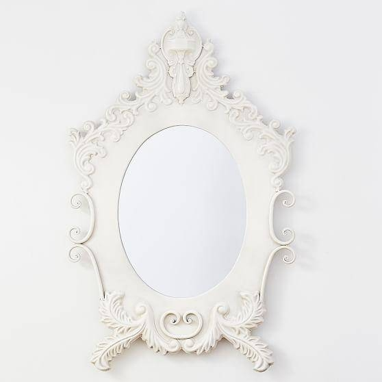 Carved Antiqued Ornate Oval Mirror In Oval White Mirrors (#11 of 30)