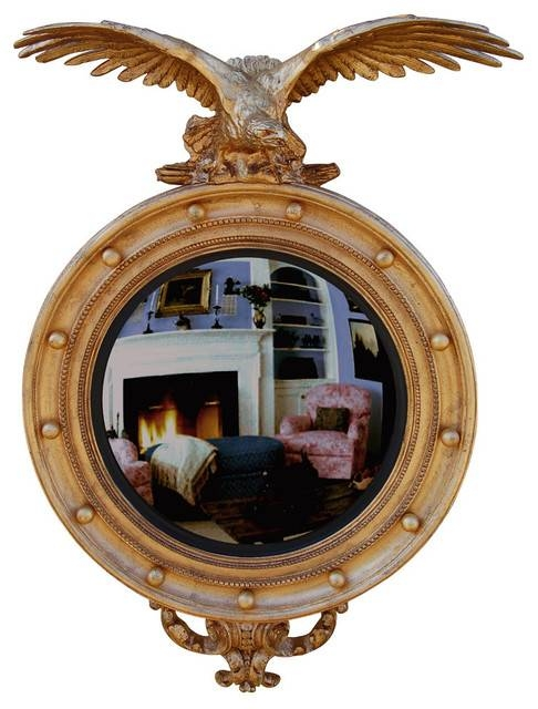 Carved Eagle Convex Mirror, Baroque – Traditional – Wall Mirrors Within Convex Wall Mirrors (#13 of 30)