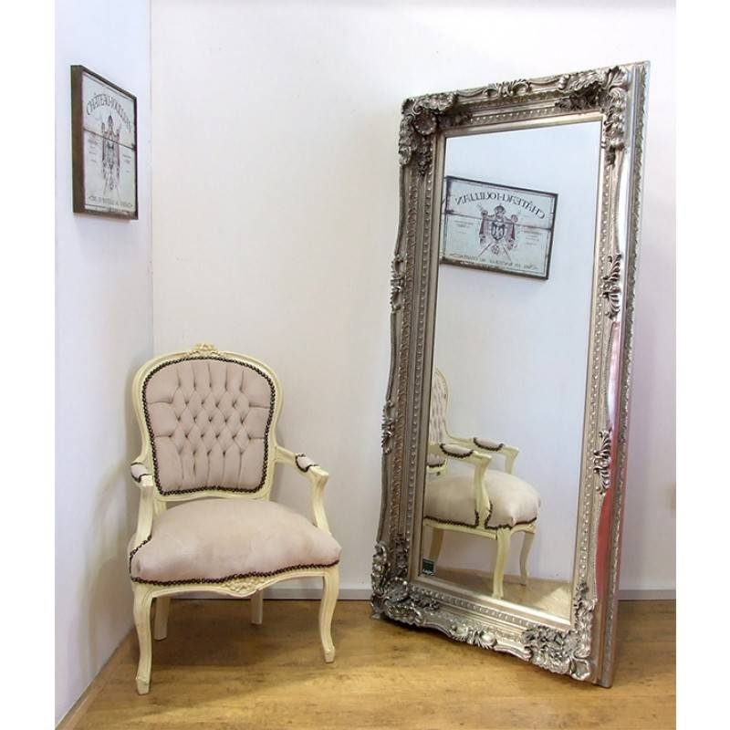 Carved Louis Large Ornate French Frame Leaner/wall Mirror – Silver In Huge Ornate Mirrors (#15 of 30)