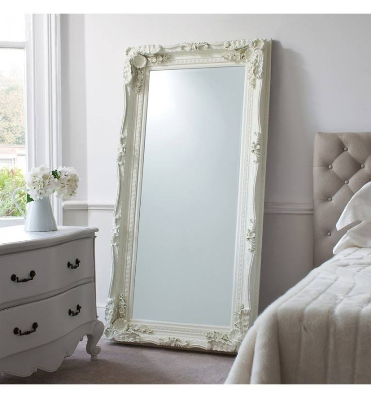 Carved Louis Leaner Mirror Cream | White Painted Leaner Mirror Inside Large Cream Mirrors (#18 of 30)
