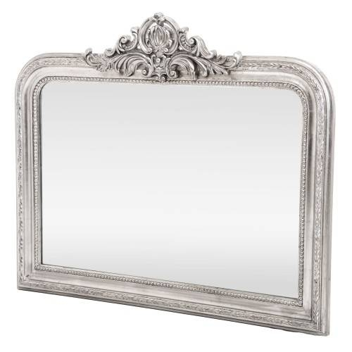 Casa Horizontal Silver Ornate Mirror, Silver | Leekes In Silver Ornate Mirrors (#7 of 30)