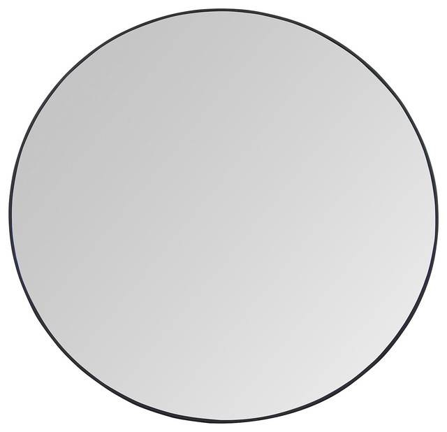 """Catskill Industrial Loft Round Steel Mirror, 24"""" – Contemporary Within Large Black Round Mirrors (View 8 of 30)"""