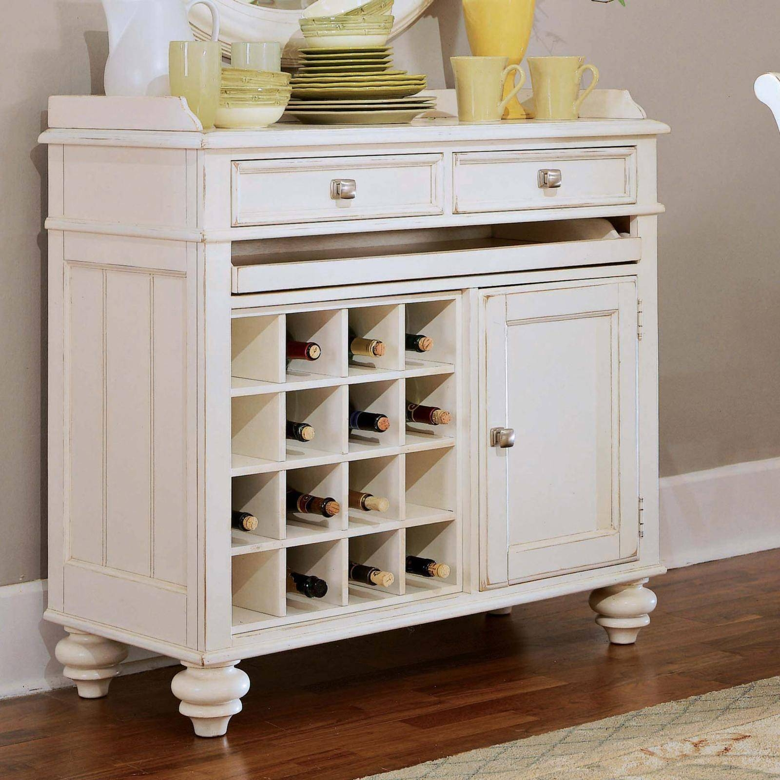 Cayden 16 Bottle Wine Rack And Server | Hayneedle Within White Sideboard With Wine Rack (View 10 of 20)