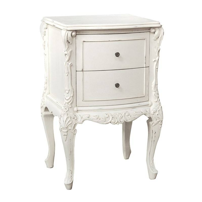 Chateau Antique White Painted 2 Drawer French Bedside Table Inside Bedside Tables Antique Mirrors (View 11 of 20)