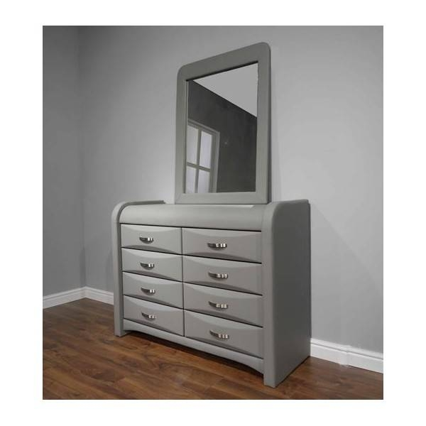 Cheap Azure Black Faux Leather 8 Drawer Dresser & Mirror For Sale Pertaining To Black Faux Leather Mirrors (#4 of 20)