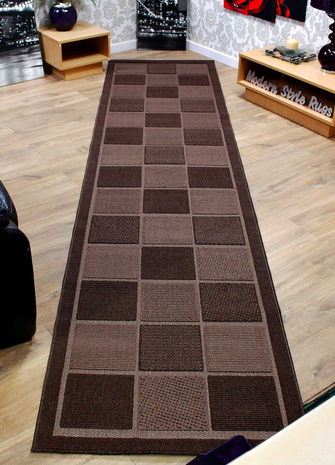 Checkered Brown Or Cream Extra Long Extra Wide Hallway Regarding Hallway Runner Rugs (View 15 of 20)
