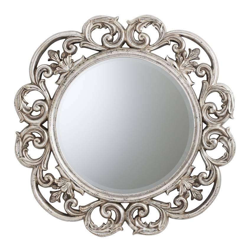 Cheri Large Round Mirror Silver 91 Cm Cheri Round Silver Mirror Regarding Round Silver Mirrors (#6 of 30)