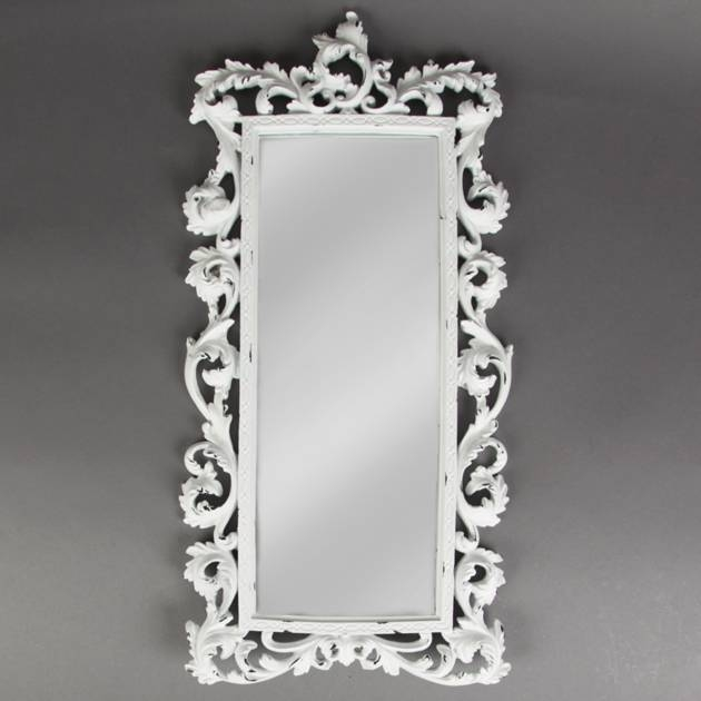 Chic Baroque Statement White Brushed Mirror Within White Shabby Chic Mirrors (View 12 of 30)