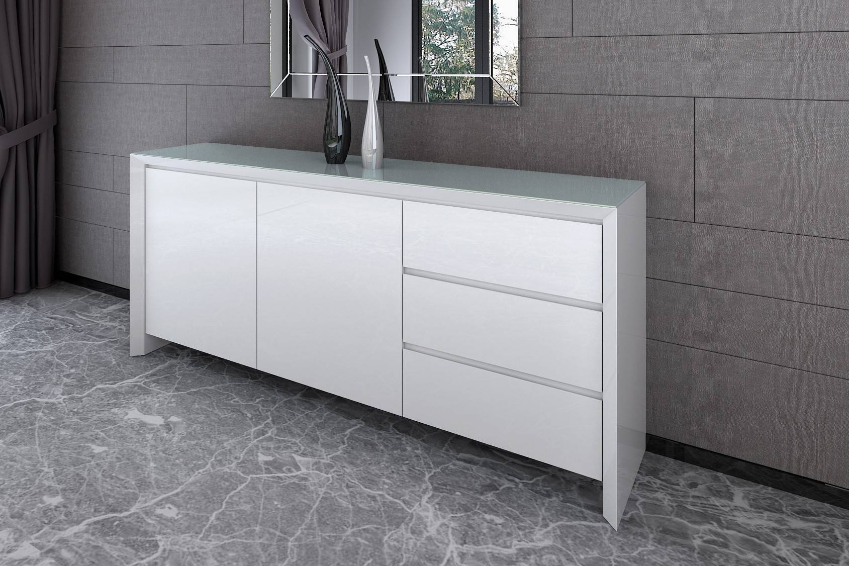 Chic – White Gloss Living And Dining Range For Large White Sideboard (#3 of 20)
