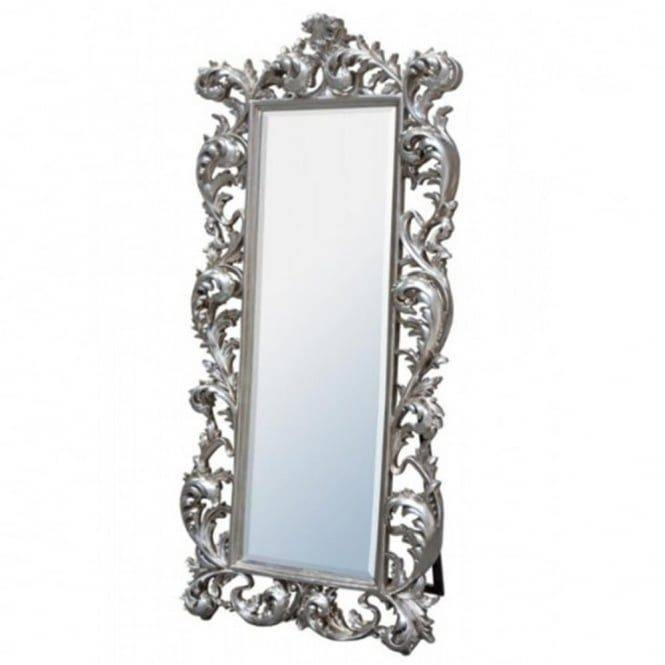 Chicmyroom Silver Ornate Carved Cheval Mirror Full Length Intended For Free Standing Silver Mirrors (#19 of 30)