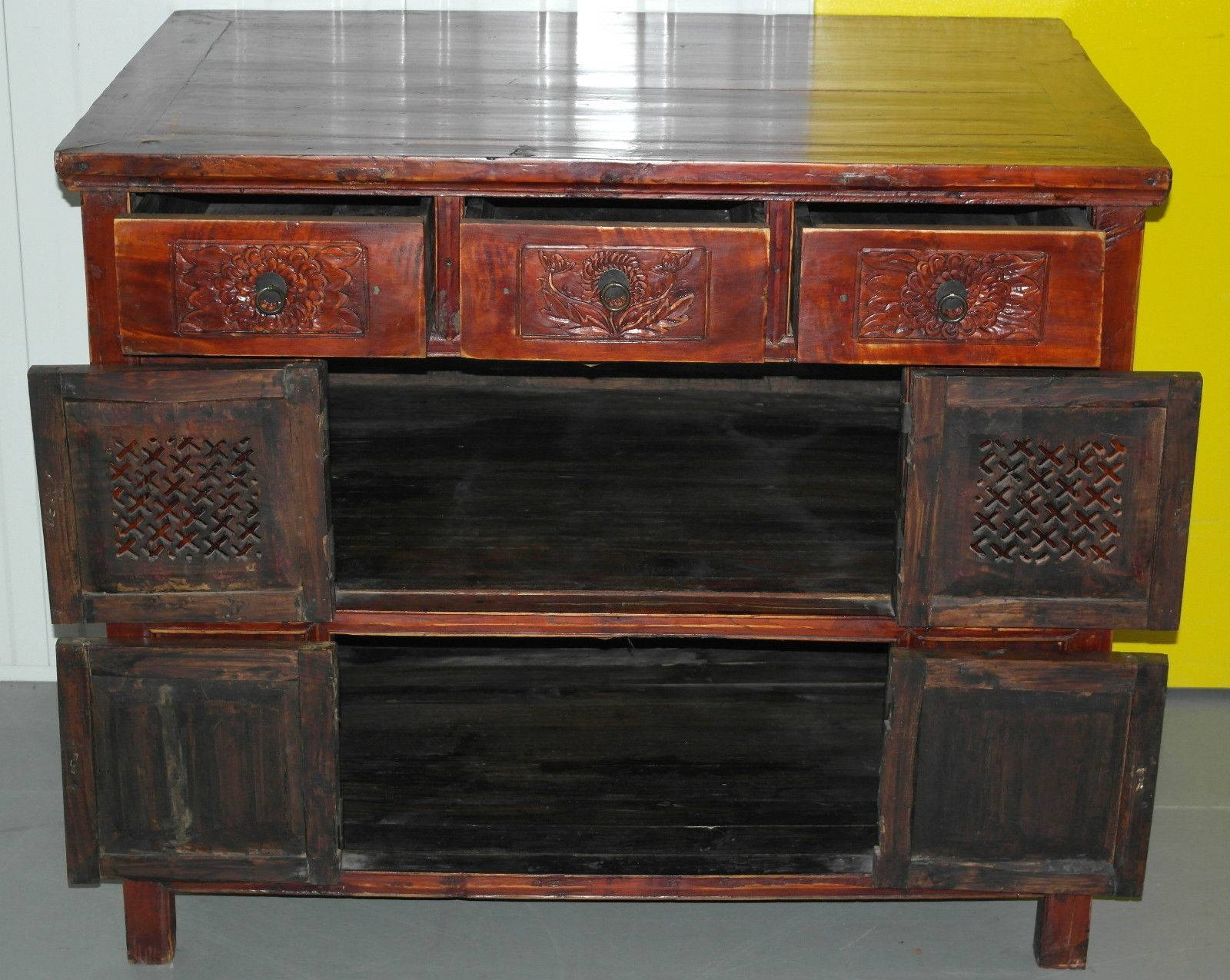 Chinese Redwood Antique Style Very Deep Sideboard Drawers With Regard To Chinese Sideboards (View 19 of 20)