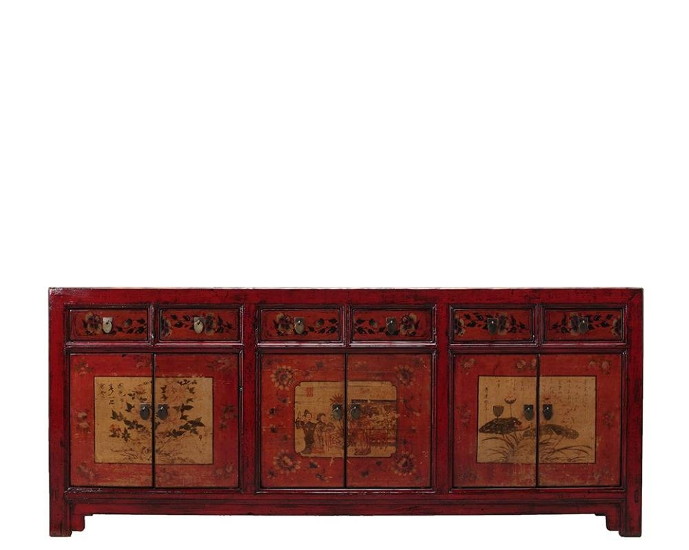 Chinese Wooden Vintage Hand Painted Rustic Sideboard Cabinet Throughout Chinese Sideboards (View 18 of 20)