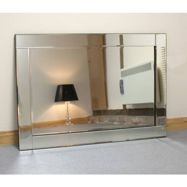 Chloe Silver Glass Framed Rectangle Bevelled Wall Mirror » Home Inside Large Glass Bevelled Wall Mirrors (#5 of 20)
