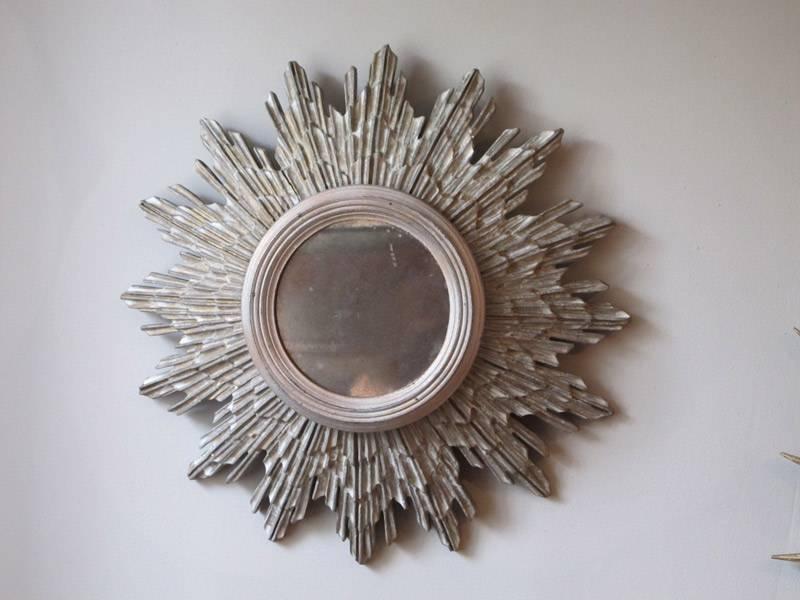 Circa 1930S Sunburst Silver Gilded Mirror – Other Mirrors Regarding Silver Gilded Mirrors (#22 of 30)