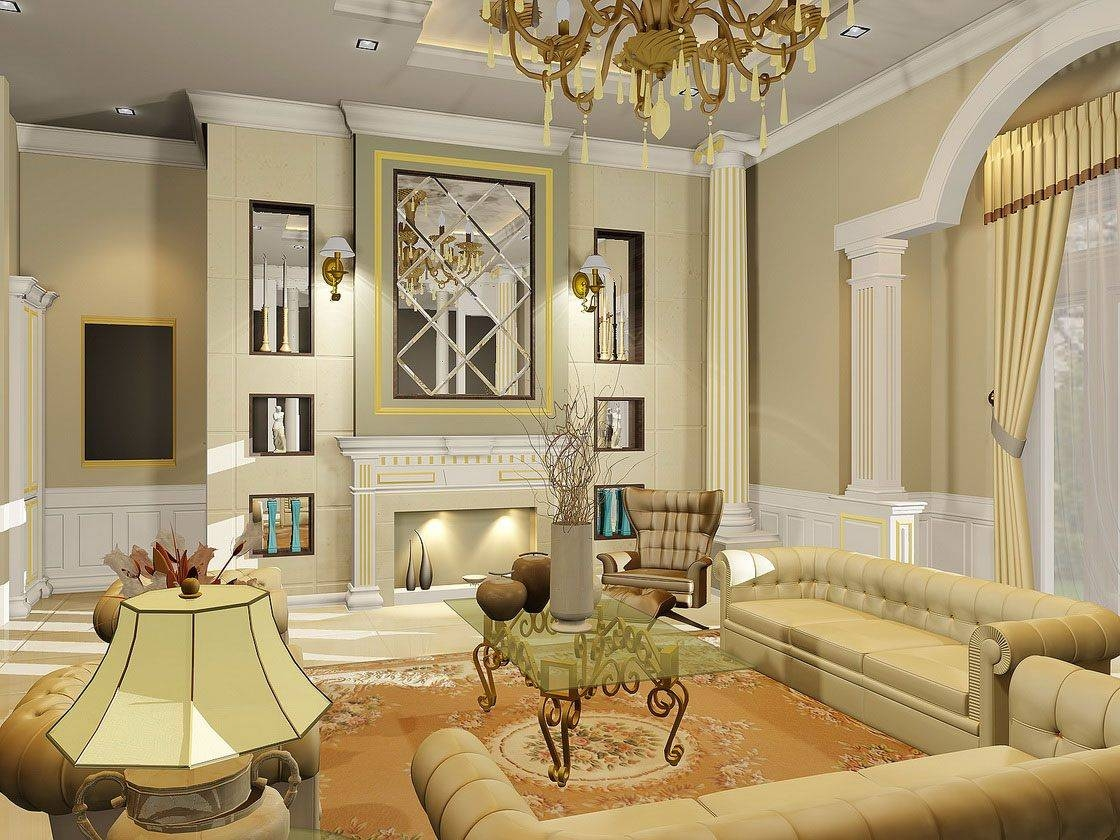 Classic Living Room Decor Floor Lamps Behind White Sofa Wood Solid With Sideboard Lamps (View 18 of 20)