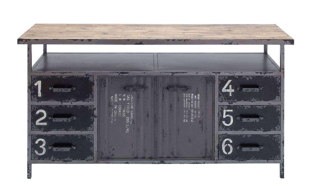 Cole & Grey Metal And Wood Sideboard & Reviews | Wayfair Regarding Metal Sideboards (View 15 of 20)