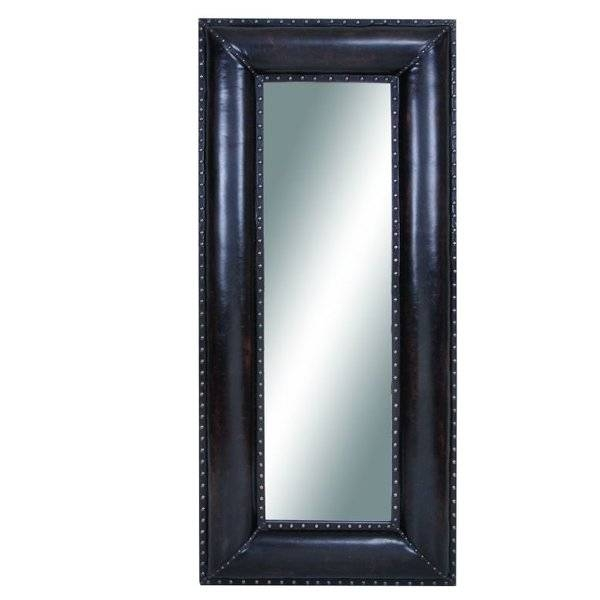 Cole & Grey Wood And Leather Wall Mirror & Reviews | Wayfair Within Leather Wall Mirrors (View 5 of 20)