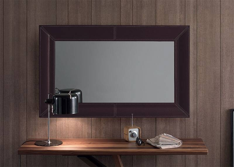 Compar Modern Mirror In Black, White Or Dark Brown Regenerated Leather Pertaining To Black Leather Framed Mirrors (#10 of 30)