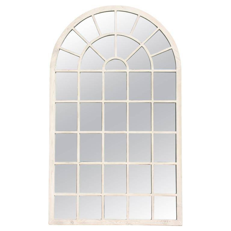 Contemporary 1980S Belgium White Washed Oversized Arch Window In White Arched Window Mirrors (#16 of 20)