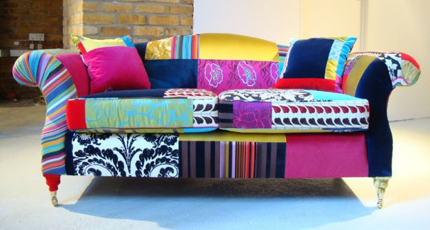 Contemporary Classic Upholstered Sofas With Mixed Fabrics In Upholstery Fabric Sofas (View 3 of 15)