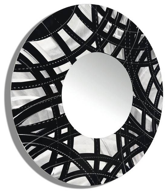 Contemporary Framed Large Round Wall Mirror – Contemporary – Wall Inside Large Round Metal Mirrors (View 12 of 30)