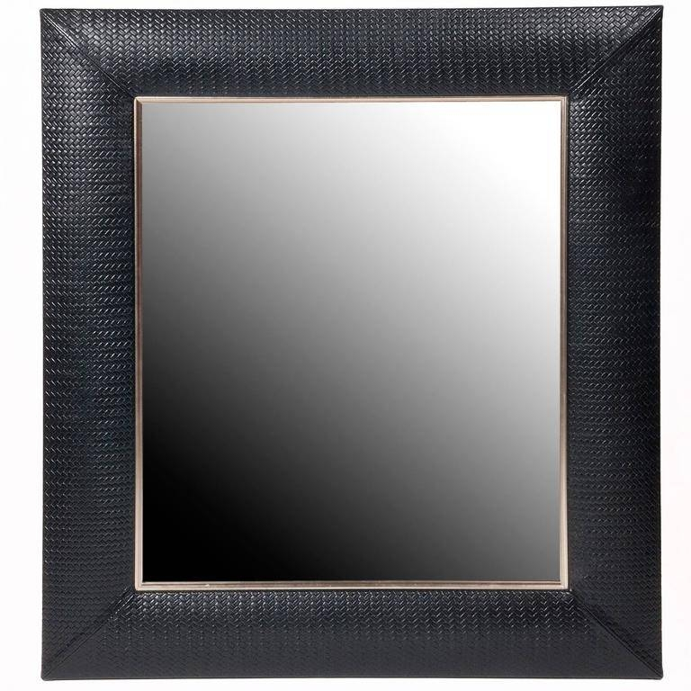 Contemporary Nero Weave Leather Framed Mirror For Sale At 1Stdibs Within Black Leather Framed Mirrors (#12 of 30)