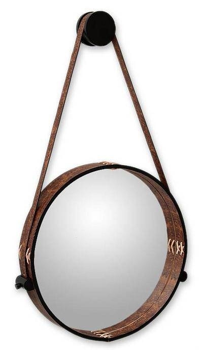 Contemporary Rustic Leather Wall Mirror – New Moon | Novica Intended For Wall Leather Mirrors (#9 of 30)