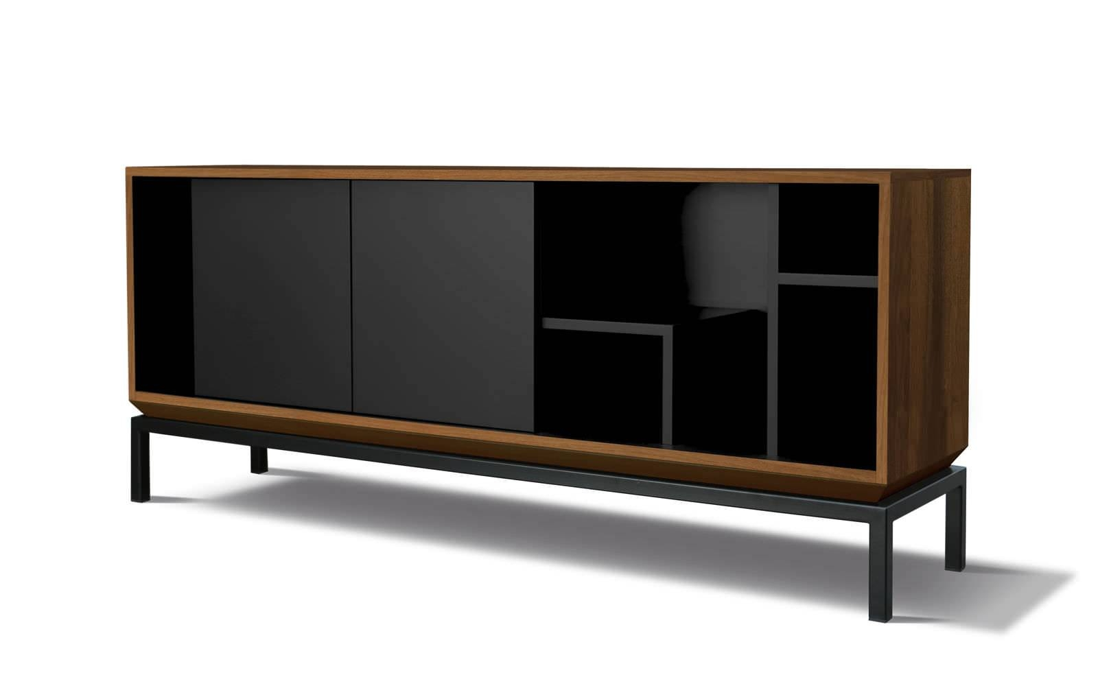 Contemporary Sideboard / Oak / Walnut / Lacquered Mdf – My City In Black And Walnut Sideboard (#10 of 20)