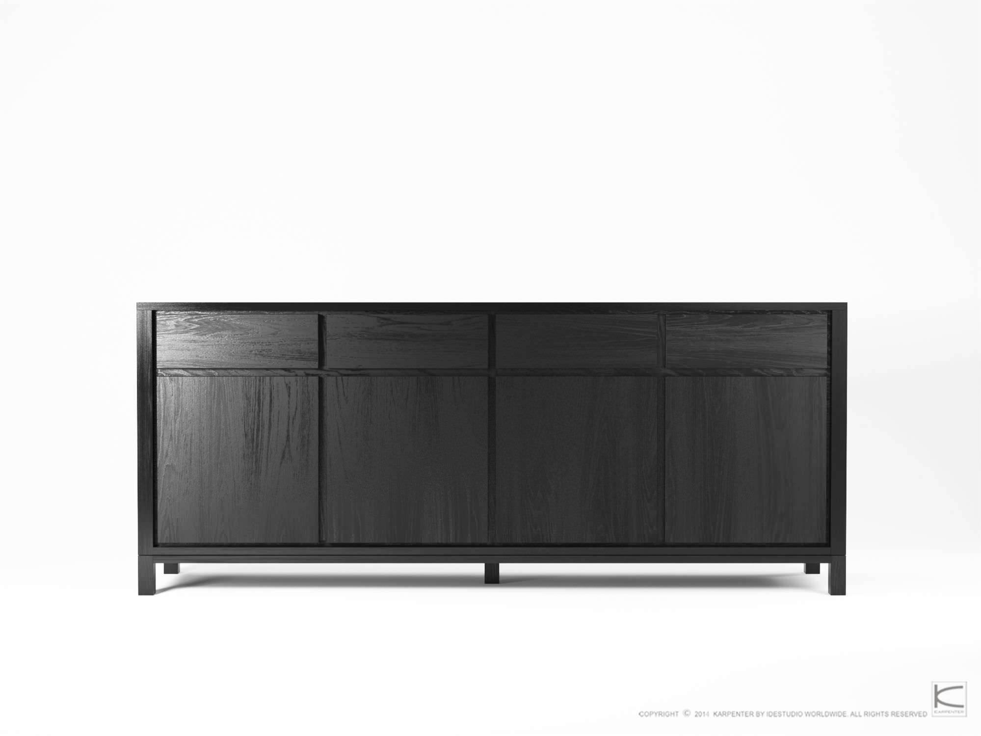Contemporary Sideboard / Oak / Walnut / Solid Wood – So09 – Karpenter Throughout Black And Walnut Sideboard (#11 of 20)