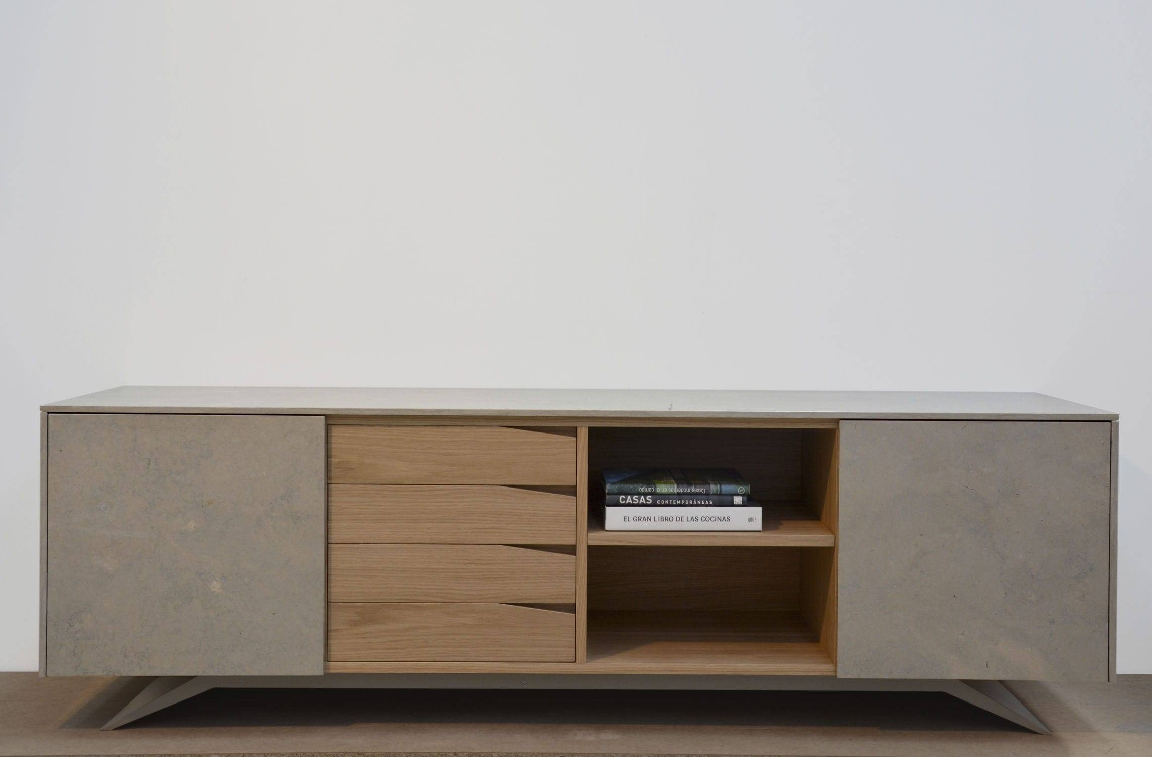 Contemporary Sideboard / Wooden / Marble / White – Trigono In White Wooden Sideboard (#7 of 20)