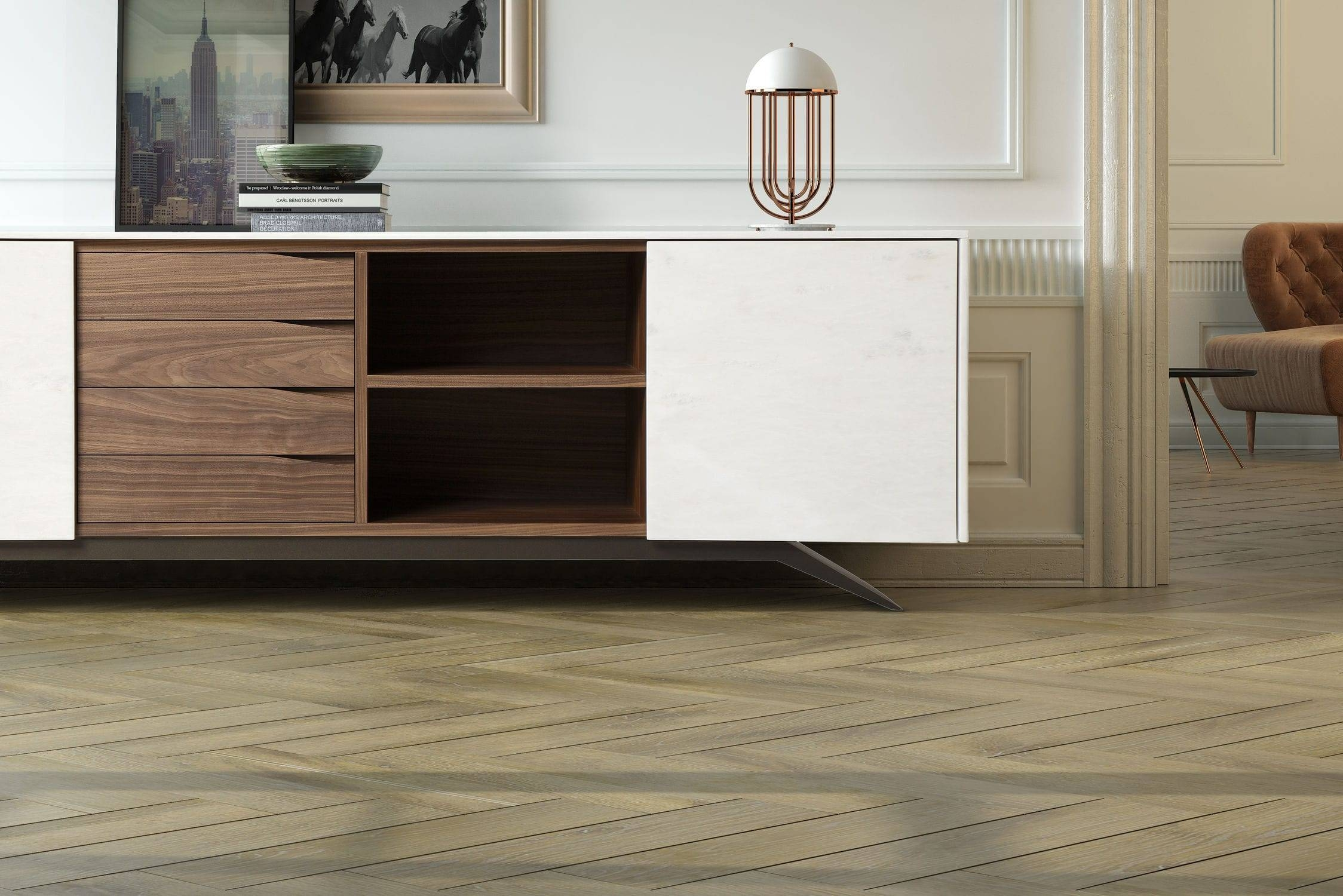 Contemporary Sideboard / Wooden / Marble / White – Trigono Inside White Wooden Sideboard (#8 of 20)