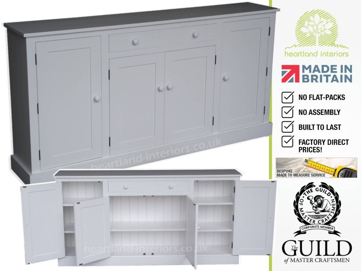 Contemporary Solid Wood Painted 4 Door Sideboard With Drawer In White Sideboard Cabinet (View 7 of 20)