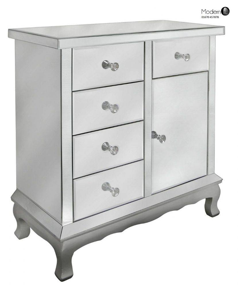 Contemporary Venetian Mirrored Sideboard With 4 Drawers And 1 Door Within Venetian Mirrored Sideboard (#3 of 20)