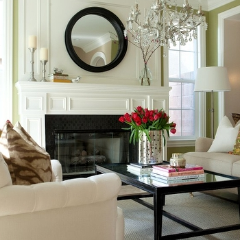 Convex Mirror Above Fireplace Design Ideas Throughout White Convex Mirrors (#10 of 30)