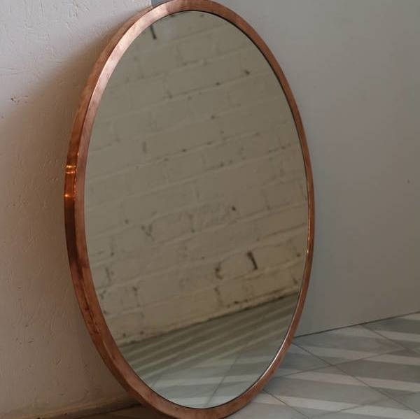 Copper Round Mirror With Leather Strapbert & May Pertaining To Round Leather Mirrors (#6 of 30)