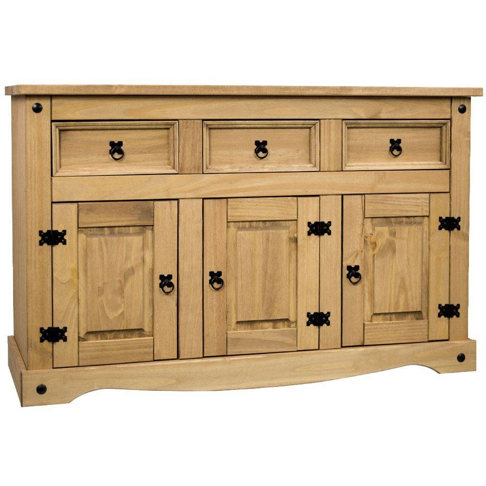 Corona Panama Sideboard Door Drawer Cupboard Solid Pine Waxed In Mexican Sideboard (#6 of 20)