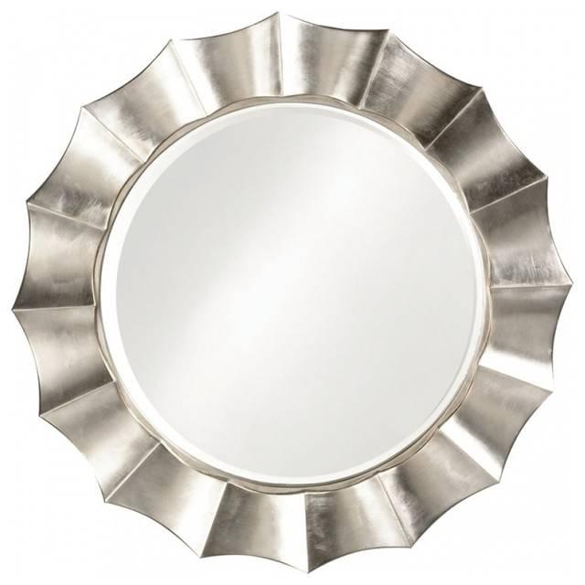 Corona Round Silver Leaf Mirror – Contemporary – Wall Mirrors – Inside Round Silver Mirrors (#8 of 30)