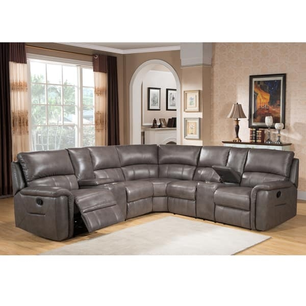Cortez Premium Top Grain Gray Leather Reclining Sectional Sofa Pertaining To Gray Leather Sectional Sofas (#5 of 15)