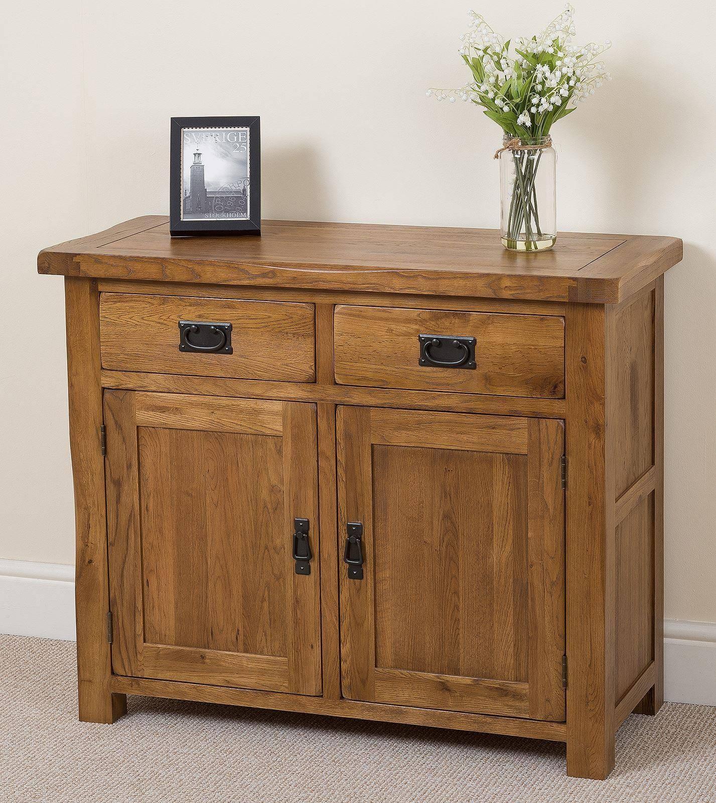 Cotswold Rustic Solid Oak Small Sideboard | Oak Furniture King In Small Wooden Sideboard (#8 of 20)