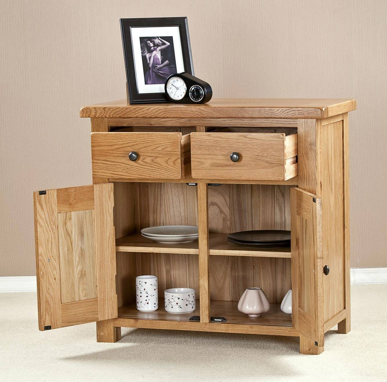 Cotswold Solid Oak 2 Door 2 Drawer Small Sideboard Within Sideboard Small (#8 of 20)