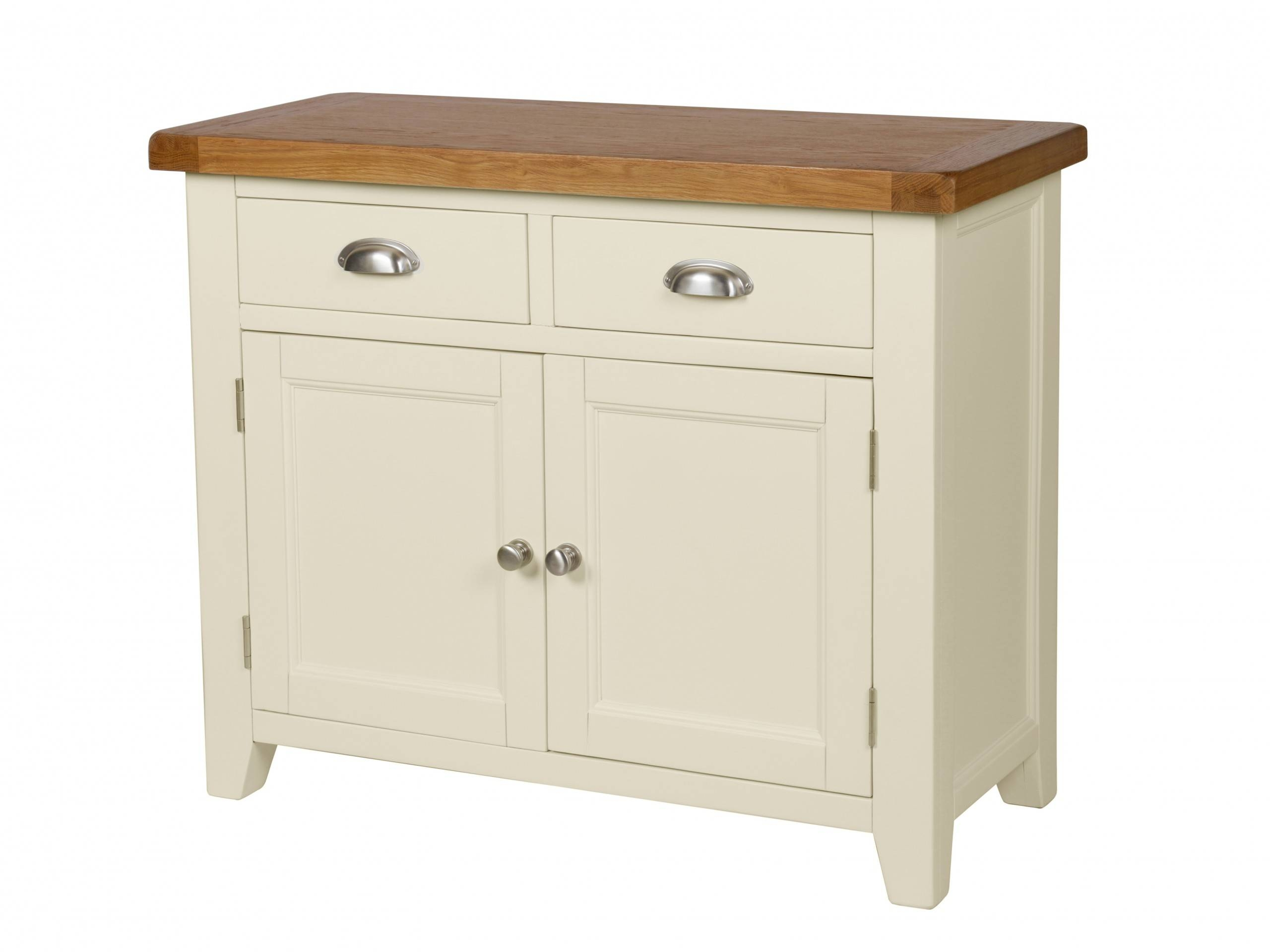 Country Cottage 100Cm Cream Painted Oak Sideboard With Cream Sideboard (#6 of 20)