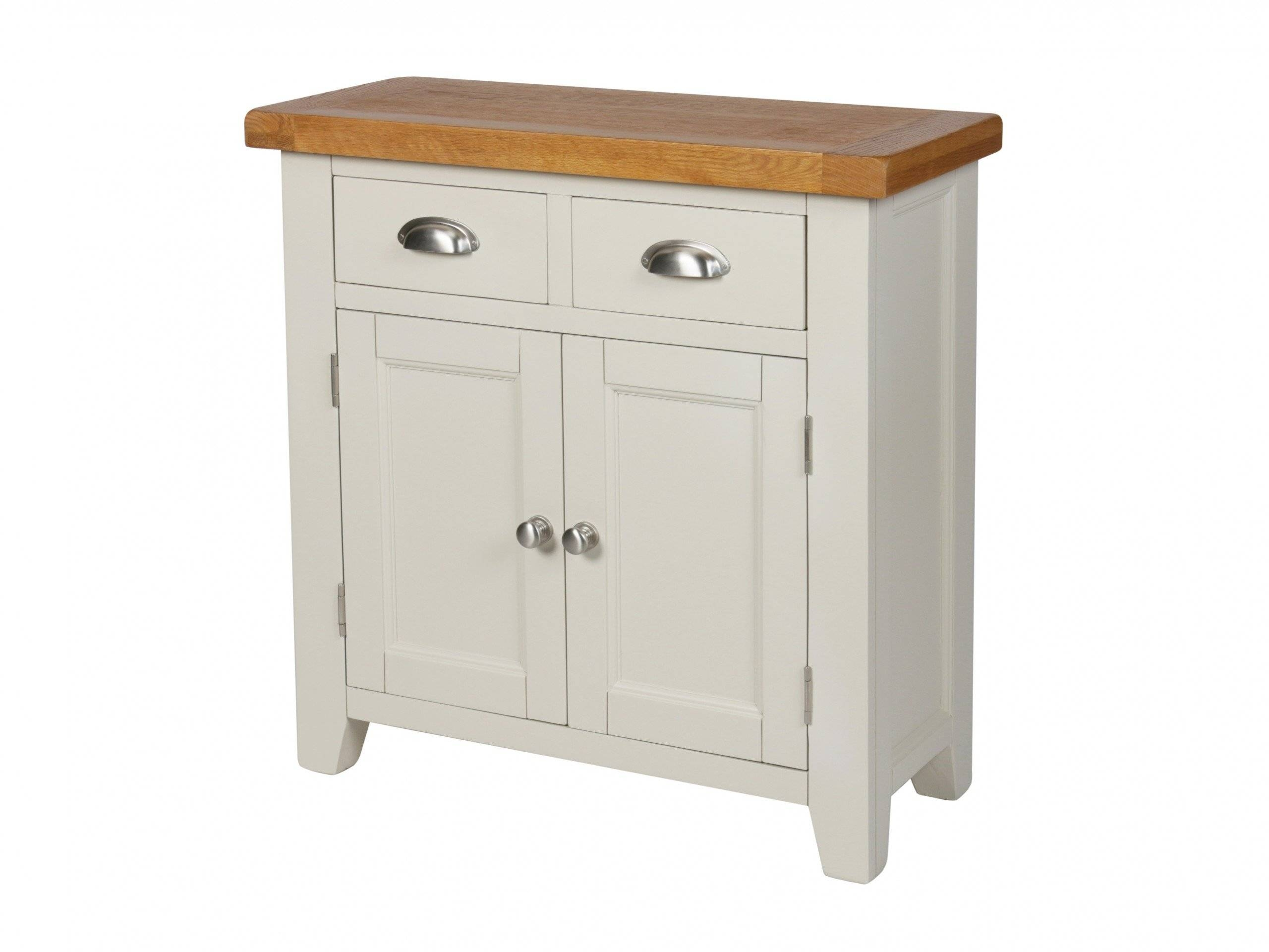 Country Cottage 80Cm Grey Painted Oak Sideboard With Regard To Small Wooden Sideboard (#10 of 20)