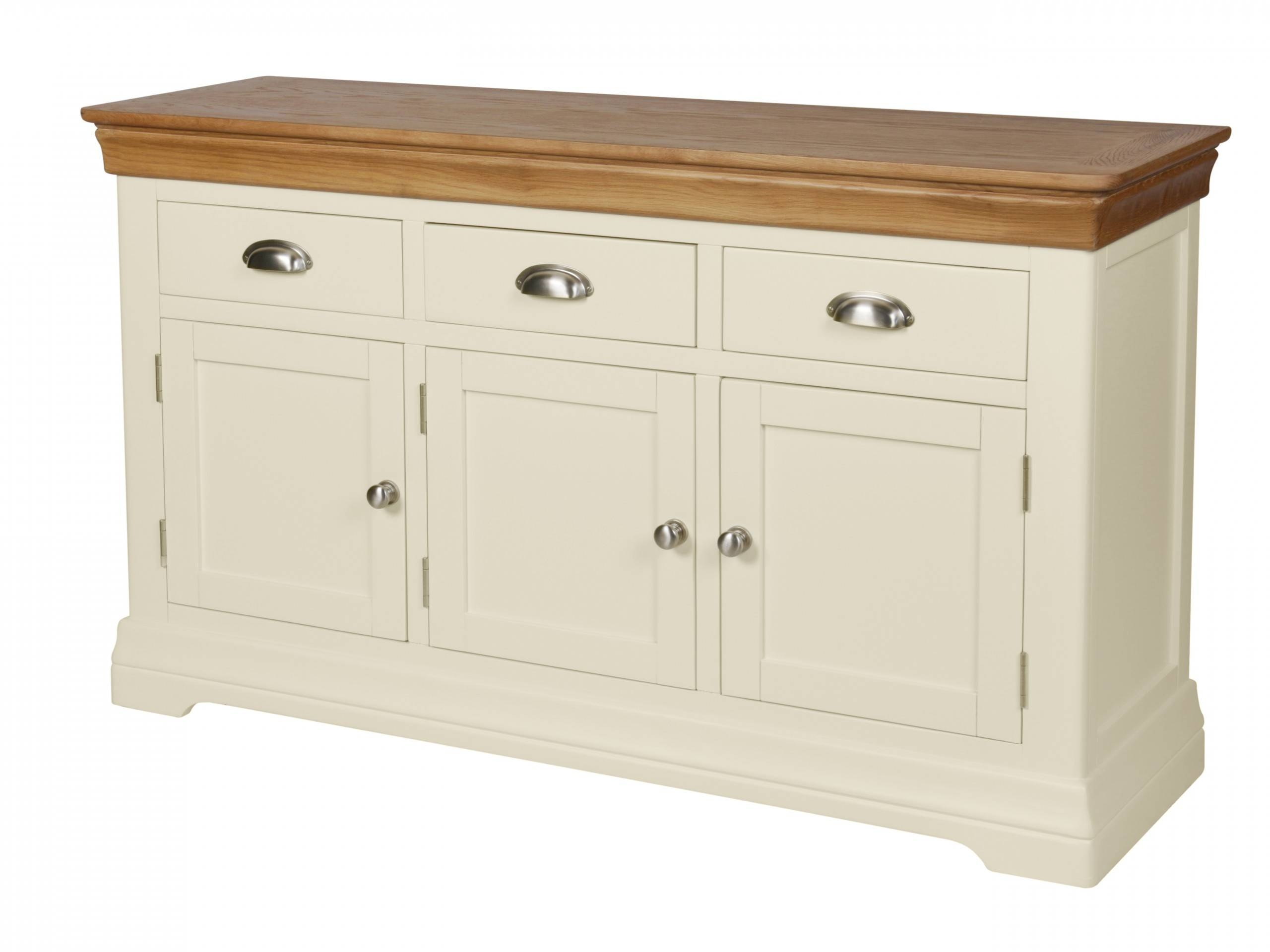 Country Oak Farmhouse 140Cm Cream Painted Sideboard Within Cream Sideboard (#8 of 20)