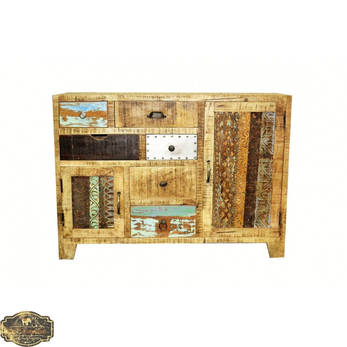 Country Timber Sideboard Cabinet Buffet Storage Drawer Unit Retro Throughout Multi Drawer Sideboard (#12 of 20)