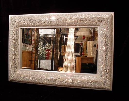 Crackle Design Mosaic Mirror Bow Design Frame 60X90Cm Within Large Mosaic Mirrors (#9 of 30)