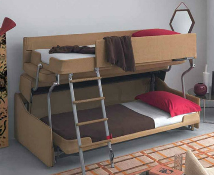 Crazy Transforming Sofa Goes From Couch To Adult Size Bunk Beds In Intended For Sofa Bunk Beds (#5 of 15)