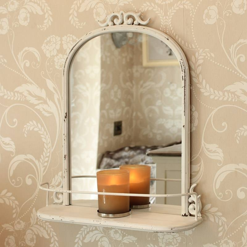 Cream Antique Style Wall Mirror Shelf Bedroom Living Room French For Cream Wall Mirrors (View 8 of 20)