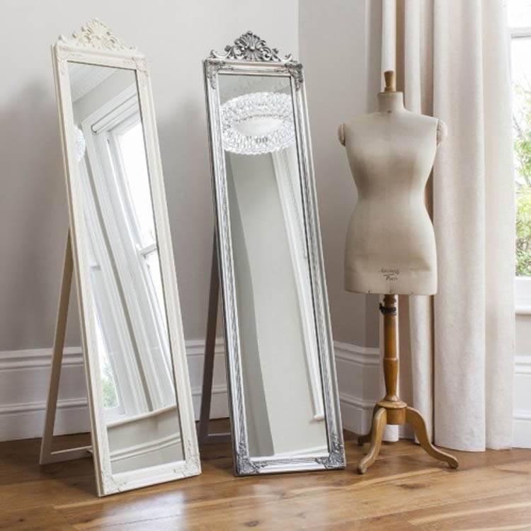 Cream Cheval Mirror – 180 X 46 Cm Cream Ornate Cheval Mirror 180 X Inside Cream Standing Mirrors (#13 of 20)