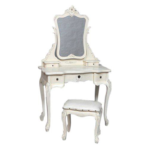 Cream French Style Dressing Table Mirror & Stool Set [Bd Nn036 With Regard To French Style Dressing Table Mirrors (#5 of 20)