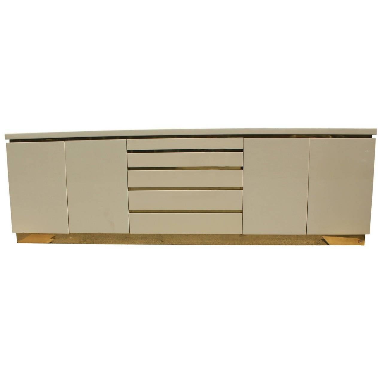 Cream Lacquer And Brass Sideboardjean Claude Mahey At 1Stdibs For Cream Sideboard (#10 of 20)